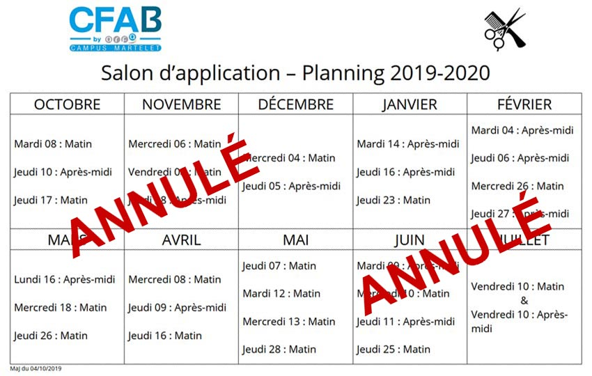 Planning 2019-2020 Salon d'application coiffure